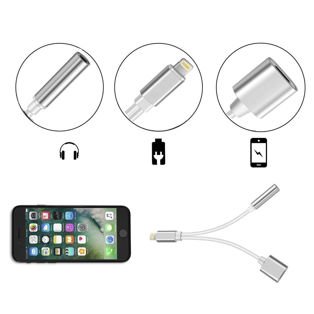 iPhone 7/7Plus/8/8Plus/X Adapter, 2 in 1 Dual Lightning Headphone Jack Audio + Charge Cable Splitter, Compatible for iOS 10.3, iOS 11 or later