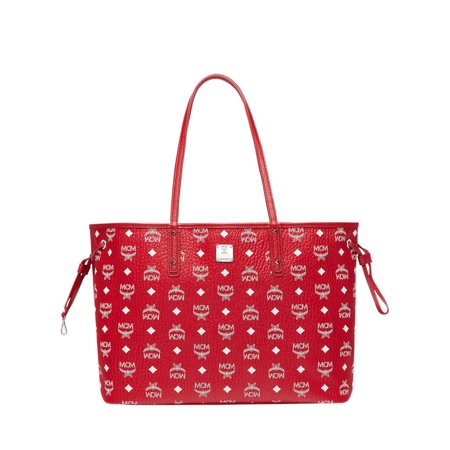 BRAND NEW WOMENS MCM LIZ REVERSIBLE DRAWSTRING SHOPPER RED MONOGRAM TOTE BAG Double Handle Shopper Tote