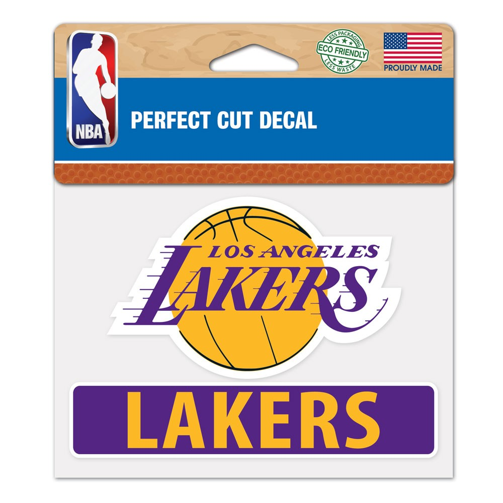 Los Angeles Lakers Official NBA 4 inch x 5 inch  Die Cut Car Decal by WinCraft