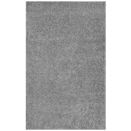 Modway Enyssa Solid 5x8 Shag Area Rug in Silver Gray