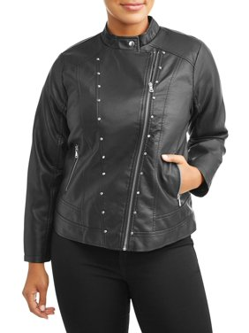 caacd1ac75 Product Image Women s Plus Size Leather Jacket With Asymmetrical Zip. New  Look