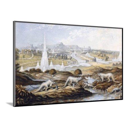 Stewart Wool (1854 Crystal Palace Dinosaurs by Baxter 1 Wood Mounted Print Wall Art By Paul)