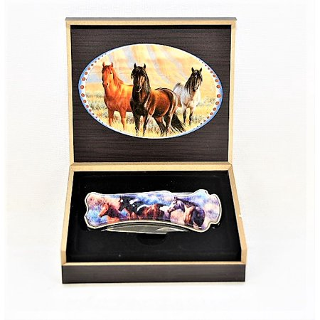 Horses 9 Inch Knife with Wood Storage Box - Horse Box Parts