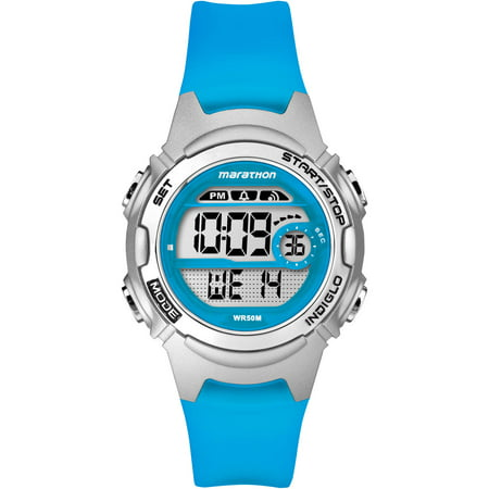 Marathon Women's Digital Mid-Size Blue/Silver Watch, Resin Strap Blue Rubber Strap Watch