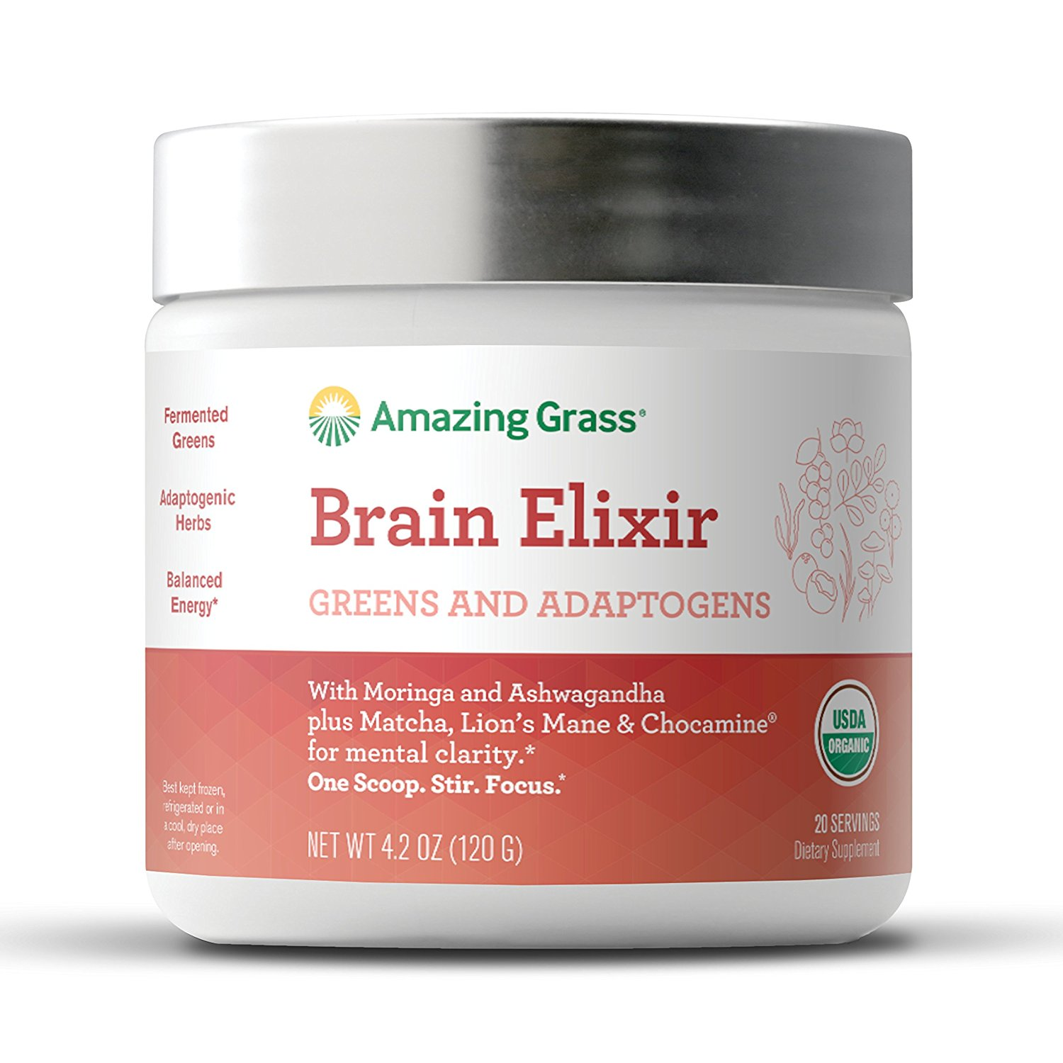 Amazing Grass Brain Elixir Powder with Greens & Adaptogens, 20 Servings