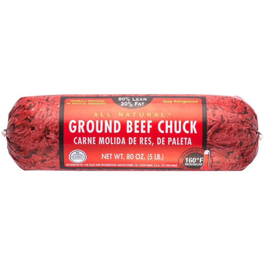 80% Lean/ 20% Fat, Ground Beef Chuck Roll, 5 lbs