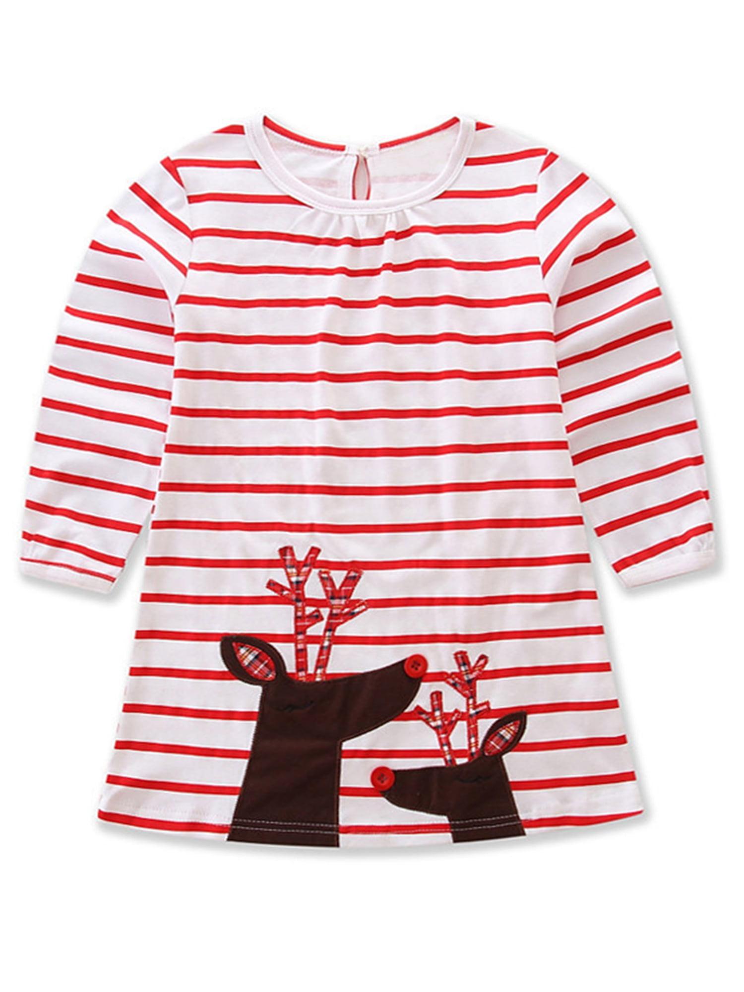 StylesILove Baby Girl Christmas Holiday Striped Print Reindeer Cotton Long Sleeve Dress (120/3-4 Years)