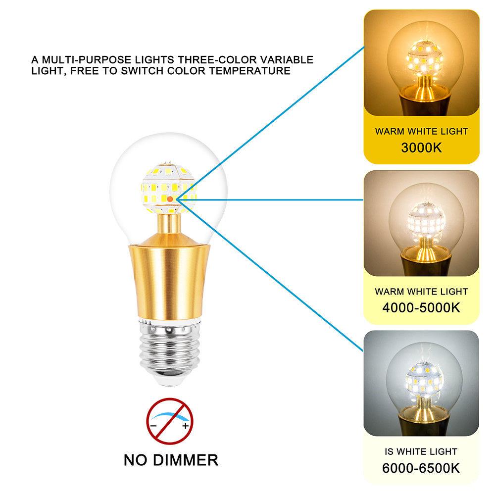 7W E27 Dusk to Dawn Energy Save Smart Light Bulbs W/ Mode 3 illuminating Colors
