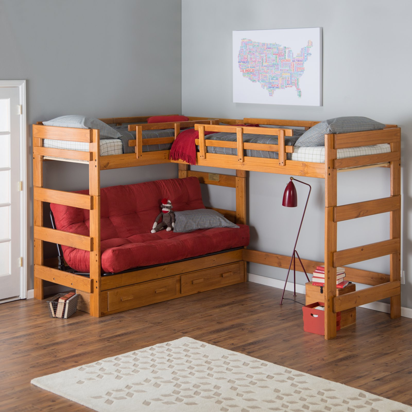 Woodcrest Heartland Futon Bunk Bed with Extra Loft - Honey Pine ...