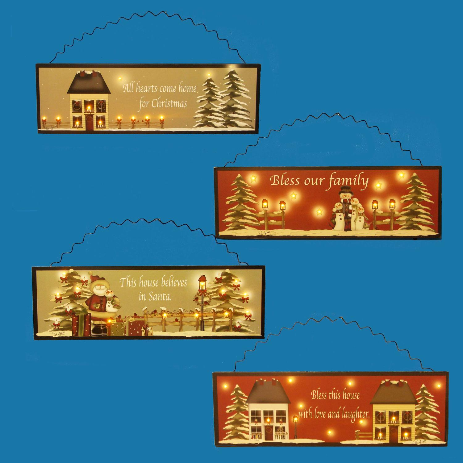 Set of 4 Lighted Country Home Christmas Plaques with Inspirational Sayings