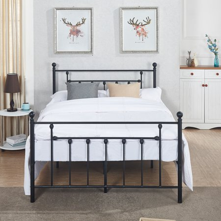 - Antique Bed Frame/Platform Bed with Victorian Iron Headboard,Full Size