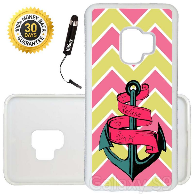 Custom Galaxy S9 Case (Yellow and Pastel Chevron with Anchor) Edge-to-Edge Rubber White Cover Ultra Slim | Lightweight | Includes Stylus Pen by Innosub
