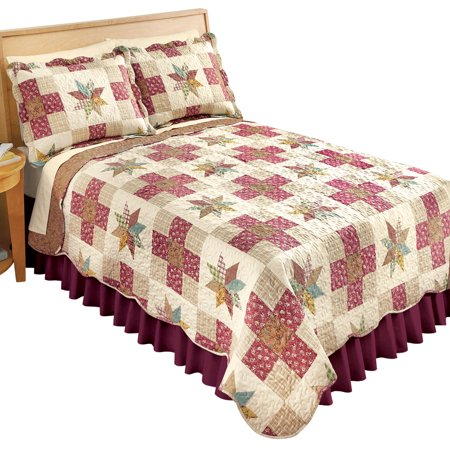 Classic Country Star Poly Cotton Patchwork Quilt  Reversible With Scalloped Edges  Twin  Multicolor