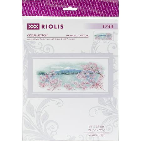 "Riolis Counted Cross Stitch Kit 21.75""X9.75""-Sakura Fuji (14 Count) - image 1 de 1"