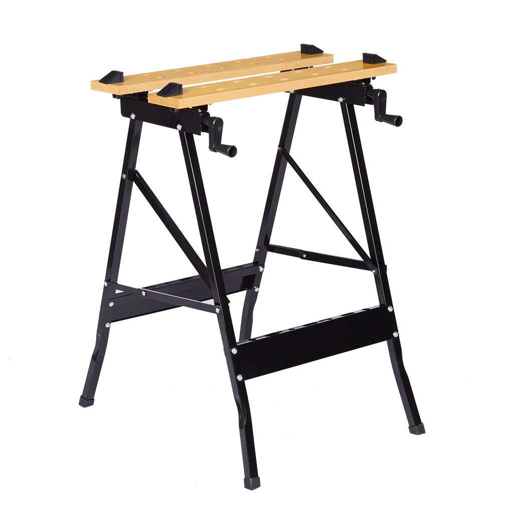 Finether Folding Workbench and Vice Portable Work Table Sawhorse with Quick Clamp, Pegs and Tool Holders for Carpenter Builder DIY Enthusiast, 331 lbs Capacity, Black