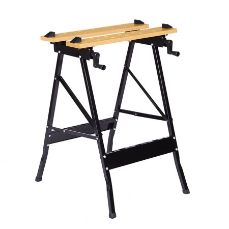 Finether Folding Workbench and Vice Portable Work Table Sawhorse with Quick Clamp, Pegs and Tool Holders for Carpenter Builder DIY Enthusiast, 331 lbs Capacity,