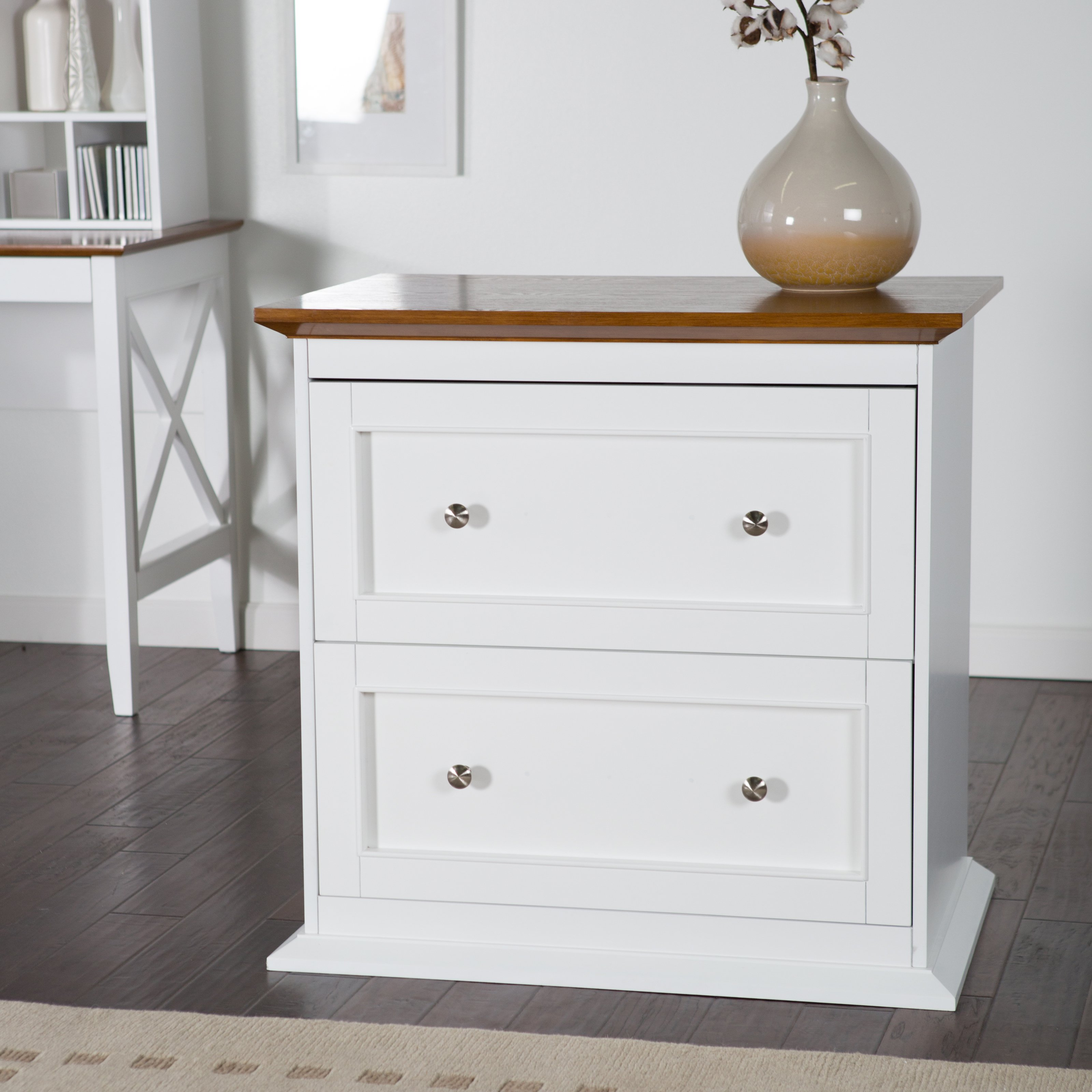 Belham Living Hampton 2 Drawer Lateral Wood File Cabinet   White/Oak    Walmart.com