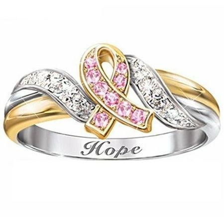 AkoaDa 1 PCS New Breast Cancer Prevention Red Ribbon Logo Gold Diamond Ring 200+ Pcs Diamond