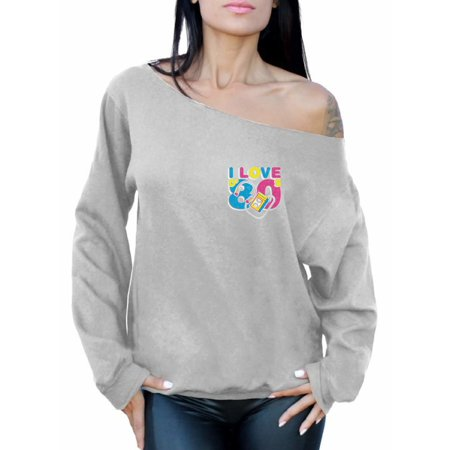 Awkward Styles I Love D' 80s Off the Shoulder Sweatshirt 80s Pocket Women's Sweatshirt Tops I Love the 80's Sweater 80s Clothes for 80s Party 80s Disco Outfit for Women Retro Vintage Off the Shoulder