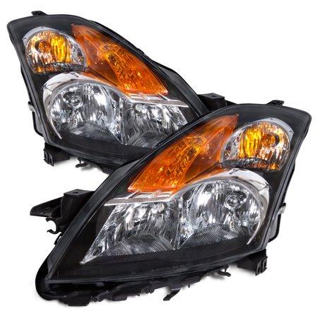 2007-2009 Nissan Altima Halogen Headlights Set Black Housing Headlamp Pair NI2502166 & NI2503166