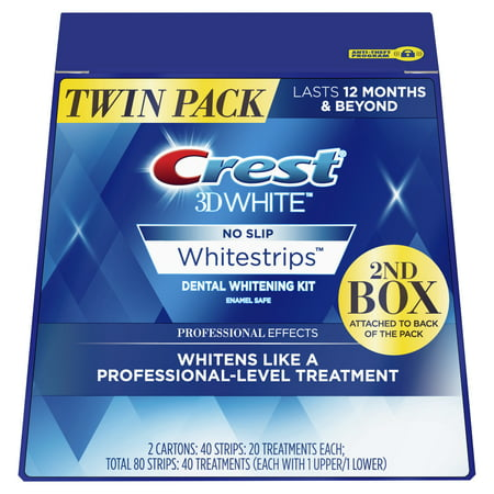 Crest 3D White Professional Effects Whitestrips Teeth Whitening Strips Kit, 40 Treatments, Twin (Take Home Teeth Whitening Kit From Dentist)