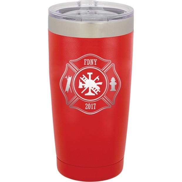 Custom Firefighter 20 oz Colored Tumbler with Clear Lid