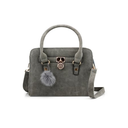 Lady Women Lock Faux Leather Tote Hobo Shoulder Bag Cute Purse fur ball Satchel Fashion Luxury Handbag