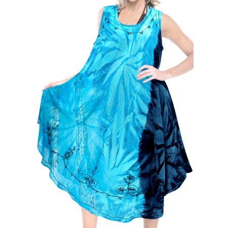 La Leela Soft RAYON CASUAL HAND Tie Dye Neck Ari Short Beach Tunic Cover ups