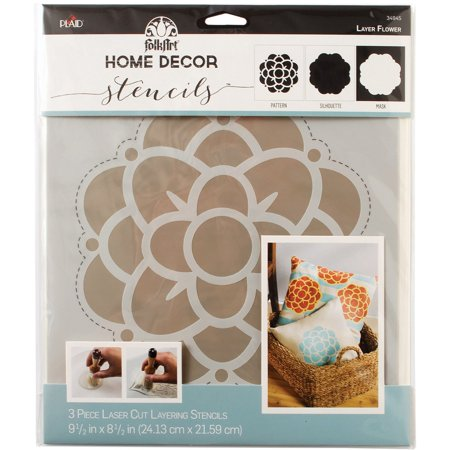 "FolkArt Home Decor Masking Stencils 3/pk 9.5""x8.5""-Flower - image 1 of 1"
