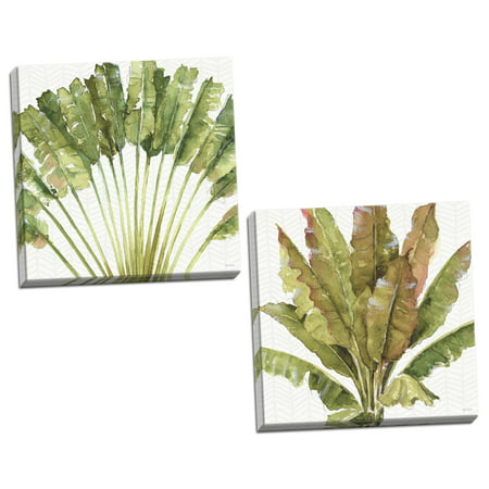 Gango Home Decor Tropical Mixed Greens VII & Mixed Greens VIII by Lisa Audit (Ready to Hang); Two 16x16in Hand-Stretched