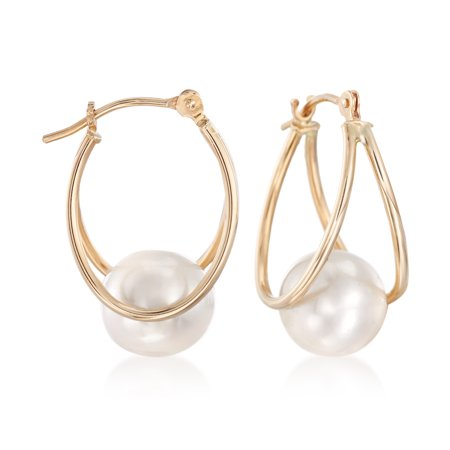 Ross-Simons 8-9mm Cultured Pearl Double Hoop Earrings in 14kt Yellow Gold 14k Double Cultured Pearl Earring