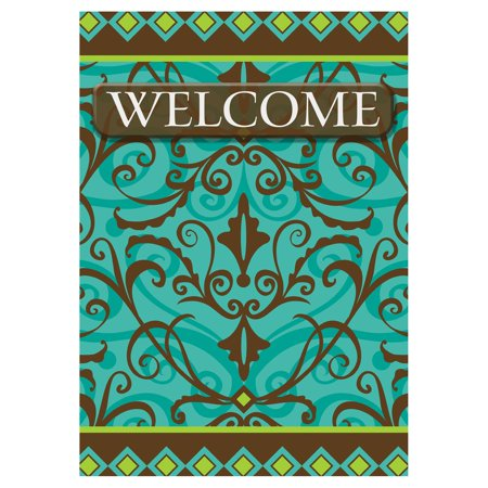 - Toland Home Garden Damask Welcome Flag