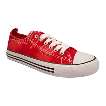 Women's Casual Canvas Shoes Solid Colors Low Top Lace Up Flat Fashion Sneakers (10, Ripped Red)