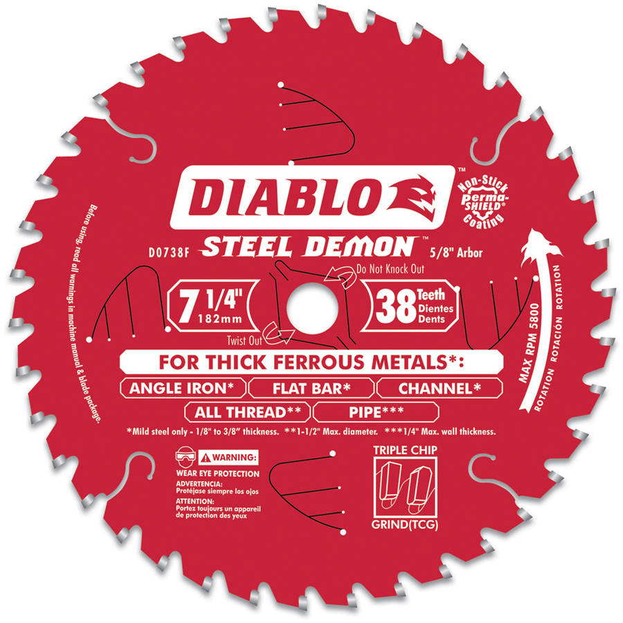 "Diablo D0738F 7-1/2"" 38T Steel Demon Ferrous Metal Cutting Circular Blade"