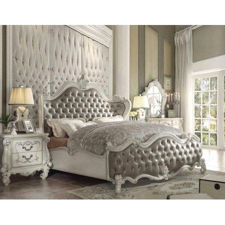 Acme Furniture 21150Q Versailles Vintage Gray Bone White Queen Bedroom Set  3Pcs