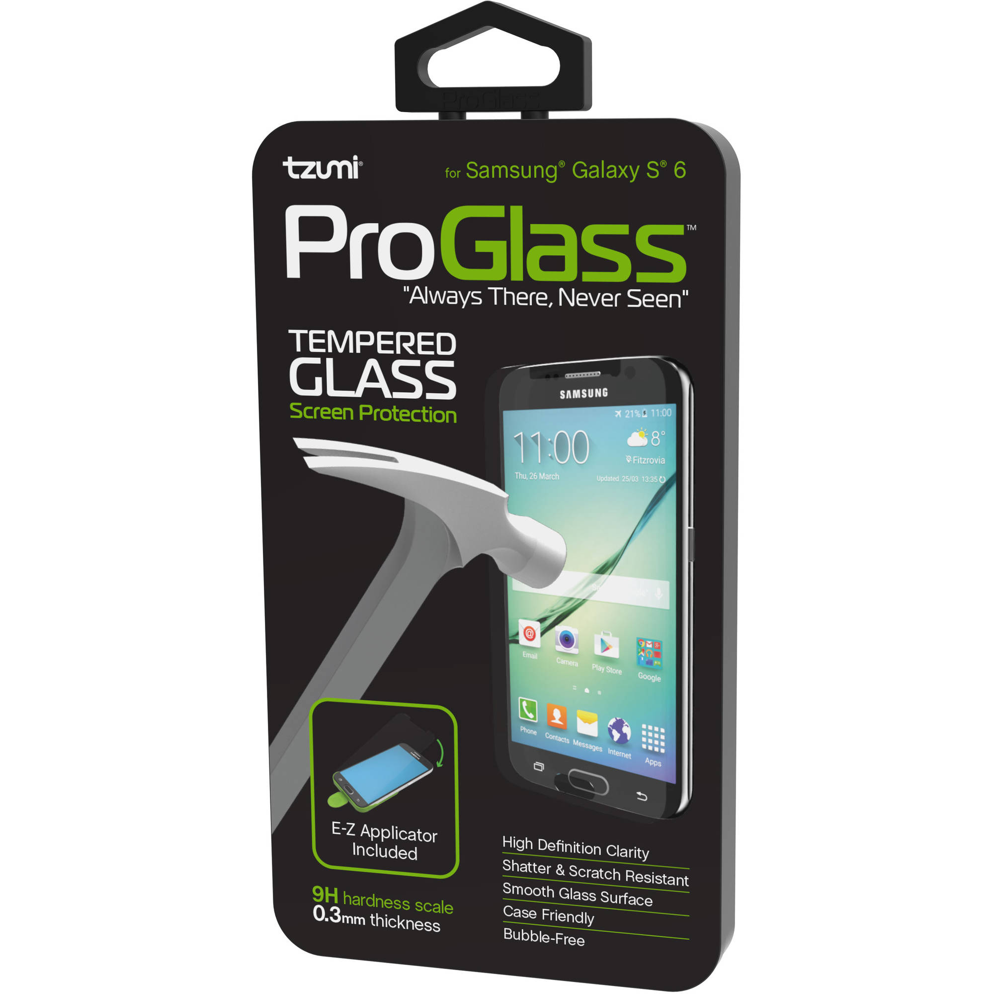 Tzumi ProGlass for Samsung Galaxy S6 - Premium Tempered Glass Screen Protector with Easy Application and Cleaning Kit
