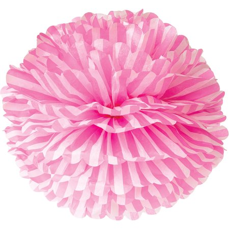 Tissue Paper Pom Pom (15-Inch, Fuchsia Pink with Stripes) - For Baby Showers, Nurseries, and Parties - Hanging Paper Flower Decorations