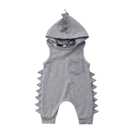 Dinosaur Summer Toddler Infant Baby Boy Girl Hooded Sleeveless Romper Bodysuit Jumpsuit Kids Clothes - Dinosaur Onesie