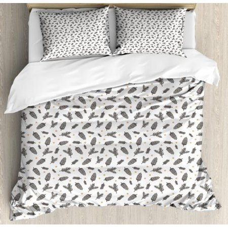 Earth Tones King Size Duvet Cover Set, Christmas Winter Theme with Pine Cones Snowflakes Spruce Tree, Decorative 3 Piece Bedding Set with 2 Pillow Shams, Charcoal Grey Beige White, by Ambesonne ()
