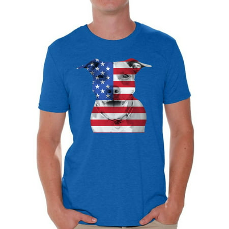 Awkward Styles American Flag T Shirts for Men USA Flag Pitbull Tshirt Tops Men's Patriotic Clothing 4th of July Gifts for Dog Owners Independence Day Outfit Pitbull Tee Shirt Tops - 70s Clothing For Sale