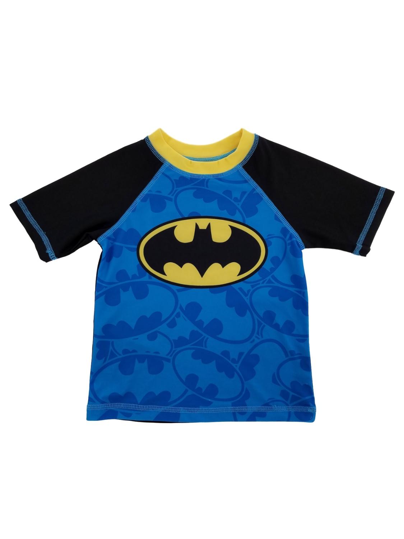 DC Comics Batman Bat Symbol Toddler Boys Blue Rash Guard Swim Shirt