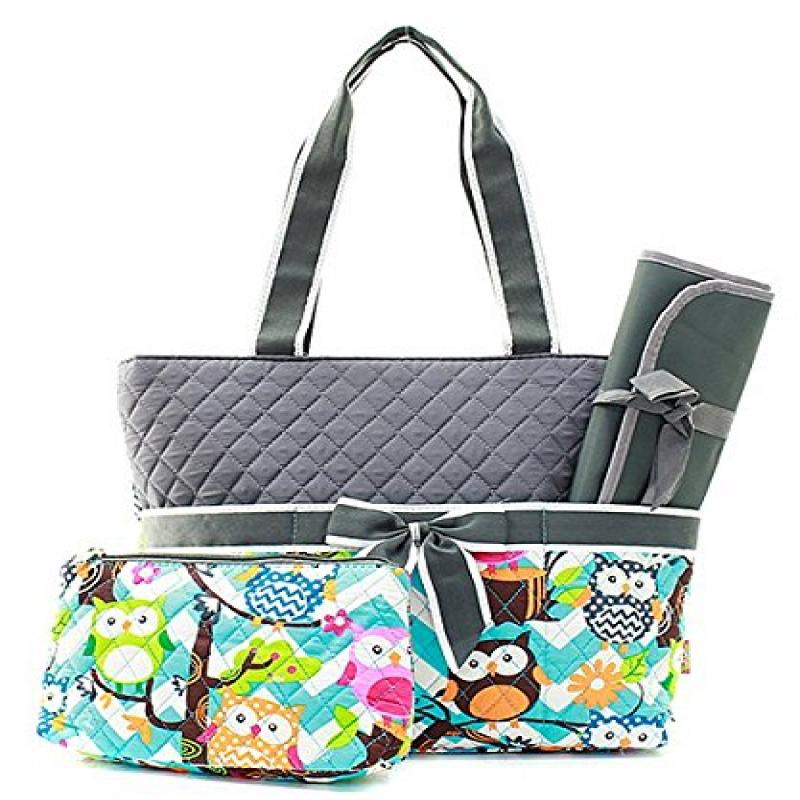 Owl Chevron Stripe Quilted Diaper Bag with Baby Changing ...