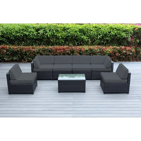 Ohana 7 Piece Outdoor Wicker Patio Furniture Sectional Conversation Set - Black Wicker ()