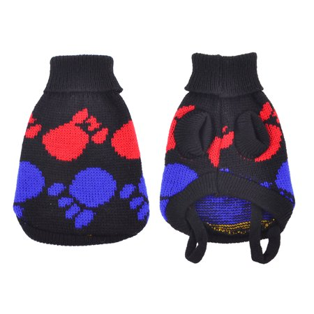 Unique Pet Costumes (Unique Bargains Black Blue Turtleneck Paw Printed Pet Dog Doggie Cat Sweater Costume Clothes)