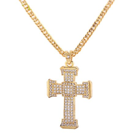Large Crystal Cross Goldtone Anti-Tarnish 100 Handset Crystal Stones, - Handset Stones