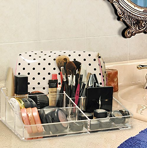 Clear acrylic makeup organizer, great for supplies & brushes, keeps everything organized and neat, at your fingertips, easy to clean