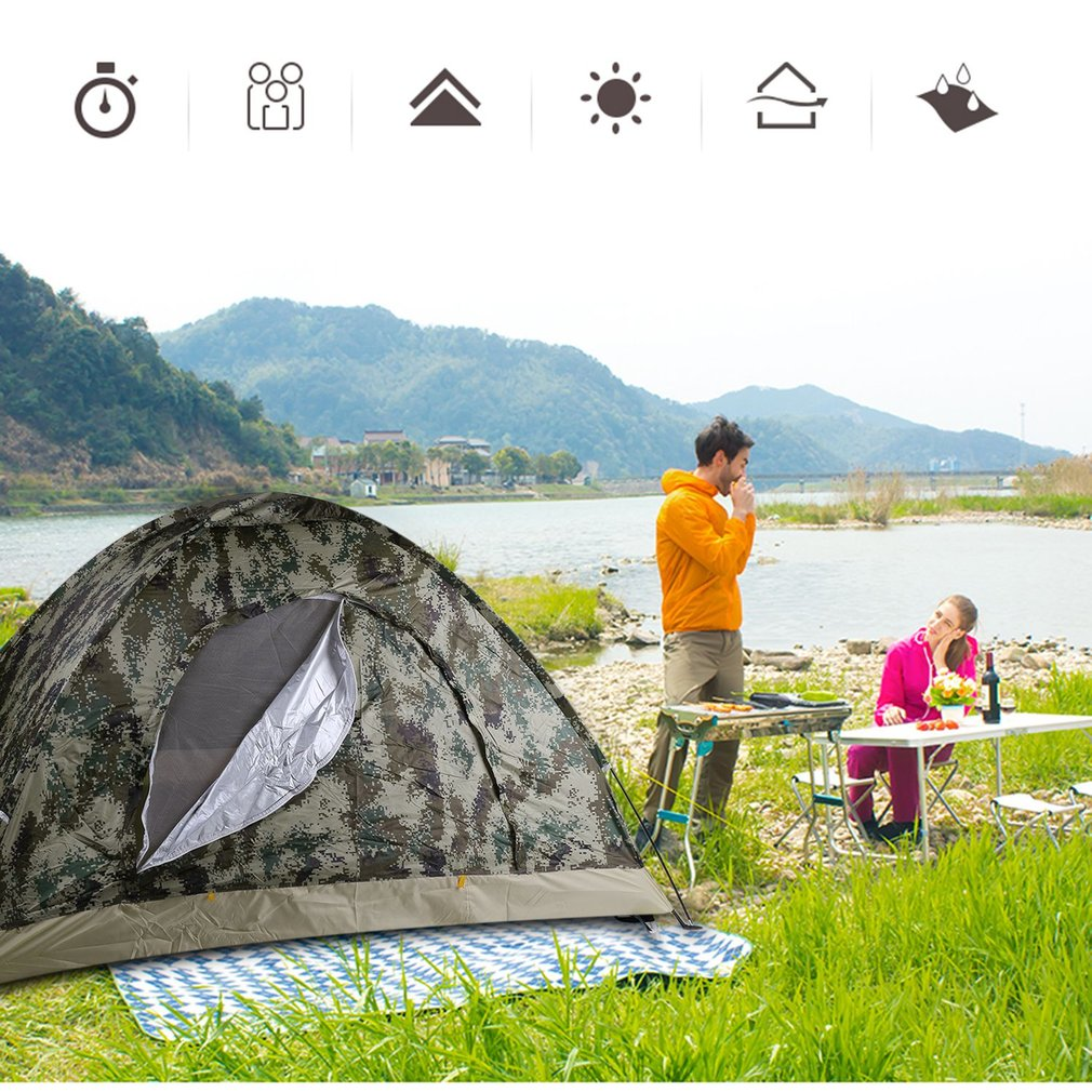 Outdoor Hiking Fishing Waterproof 4 Season 2 Person Foldable Camping Tent