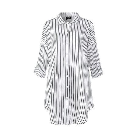 aef971c426 VONDA - Loose Maternity Blouse Stripe Long Sleeve Button Down Shirt -  Walmart.com