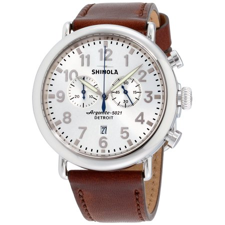 Shinola The Runwell Silver Dial Leather Strap Men's Watch 20077936