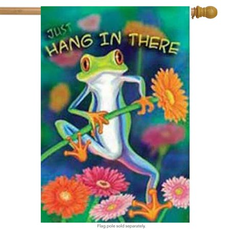 Custom Banners And Flags (Hang in There Frog Summer House Flag Floral Decorative Banner 28